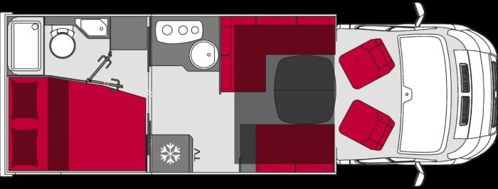 Autocaravana de segunda mano Pilote Essentiel P 176 vista de planta