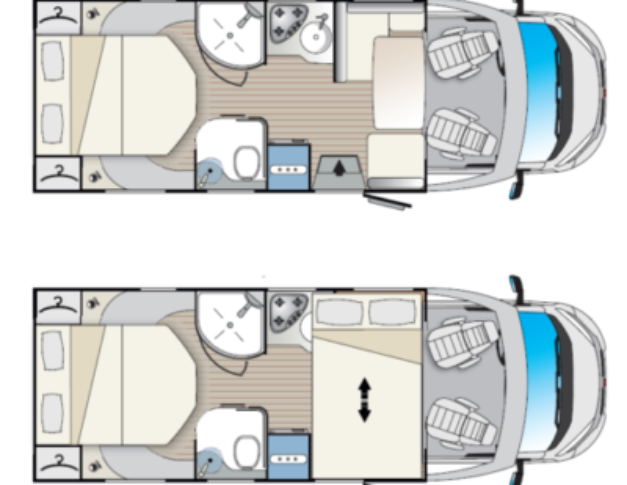 Autocaravana de alquiler Blucamp Fly 25 S distribución