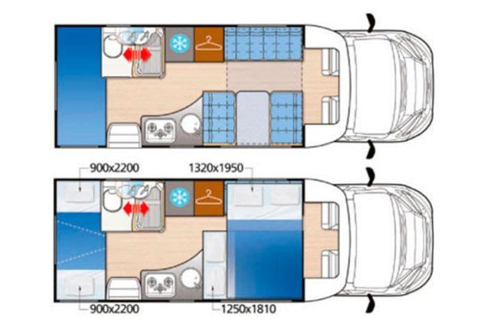 Autocaravana de alquiler Mc Louis MC4 22 vista de planta