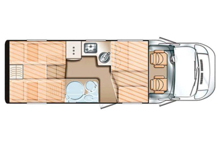 Autocaravana de alquiler Carado T448 plano