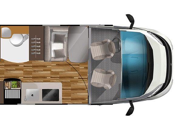 Furgoneta camper de alquiler Laika Kosmo 6.0 planta dia