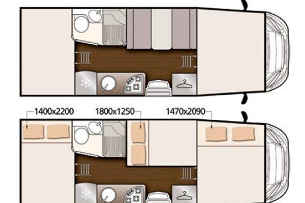 Autocaravana de alquiler Mc Louis Glamys 326 vista de plano