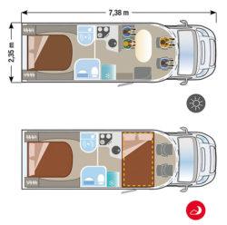 Autocaravana nueva Ilusion XMK 730 plano