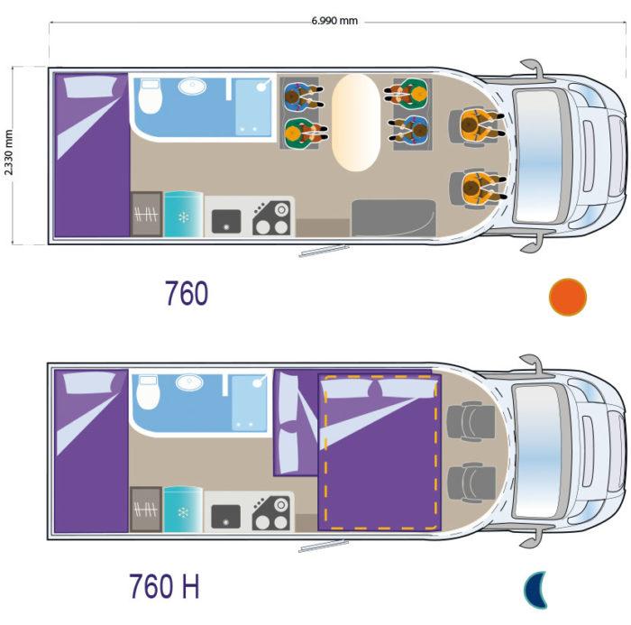 Autocaravana de alquiler Ilusion 760 plano