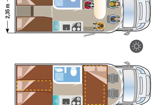 Autocaravana de alquiler Ilusion XMK 690 plano