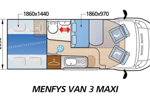 Camper de alquiler McLouis Menfys S-line Van 3 Maxi plano