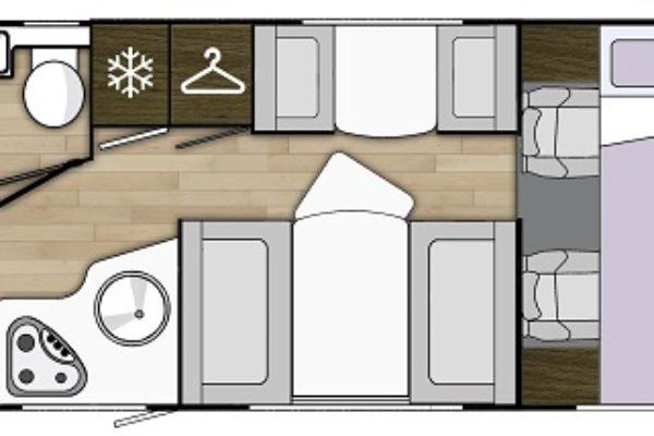 autocaravana de alquiler Benimar Sport323 plano