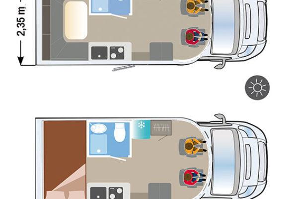 Autocaravana nueva Ilusion XMK 590FT H plano
