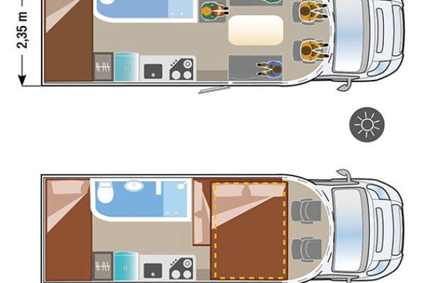 Autocaravana nueva Ilusion XMK 760 H plano