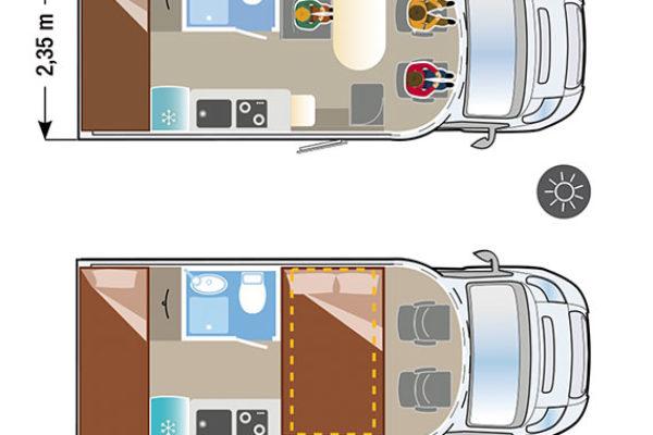 Autocaravana nueva Ilusion XMK 590L H plano