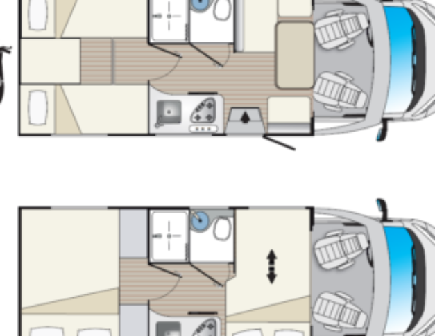 Autocaravana nueva Blucamp Fly 27 S plano