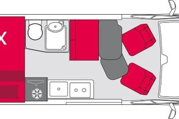 Furgoneta camper de alquiler Pilote V600S Exclusive Edition plano
