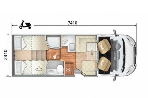 Autocaravana de alquiler Roller Team Kronos 284 TL plano