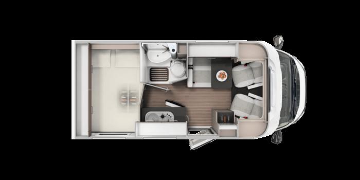 Autocaravana de alquiler Blucamp Ocean 12 plano