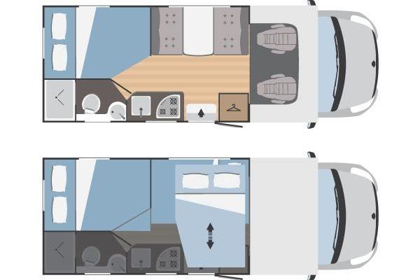Autocaravana de alquiler Rimor Hygge 12 Plus plano