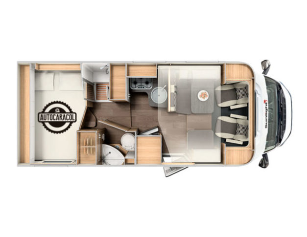 Autocaravana de alquiler Sunlight T65 plano