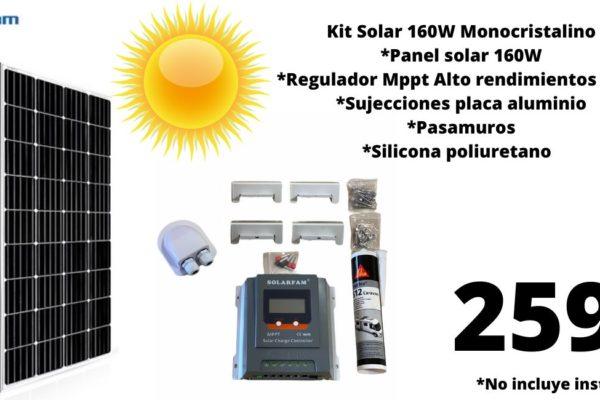 Kit solar 160W monocristalino con Regulador MPPT 30Ah mundovan