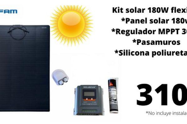Kit Solar 180W Flexible Con Regulador MPPT 30AH mundovan