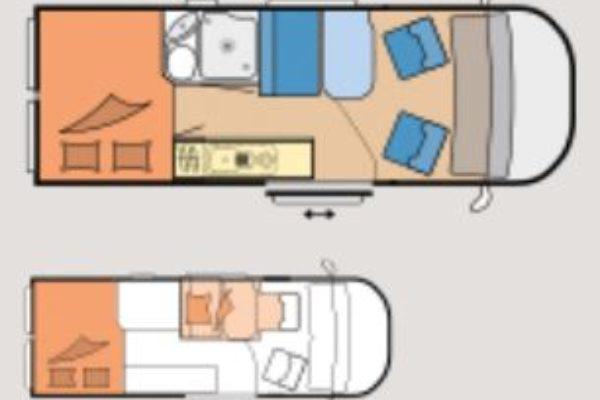 Camper de alquiler Vantana K60 FT Premium plano