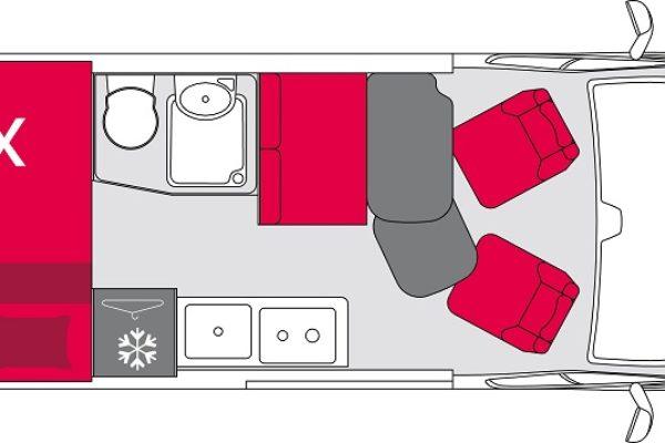 Furgoneta camper de alquiler Pilote V600S plano